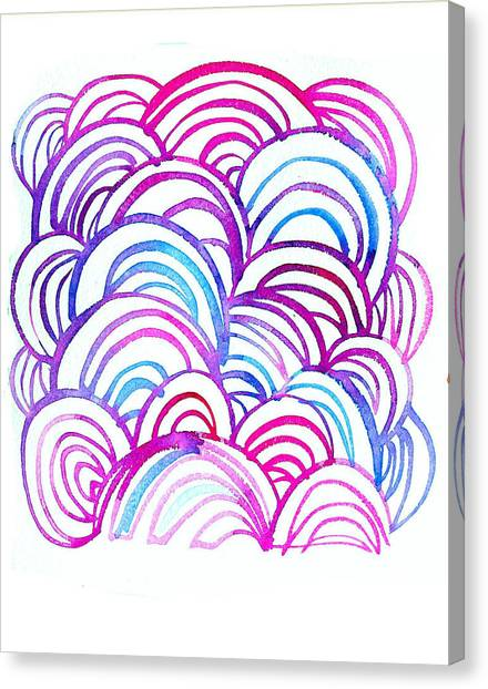 Flower Canvas Print - Watercolor Scallops In Pink And Blue by Gillham Studios