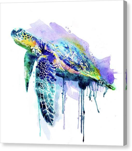 Affordable Canvas Print - Watercolor Sea Turtle by Marian Voicu