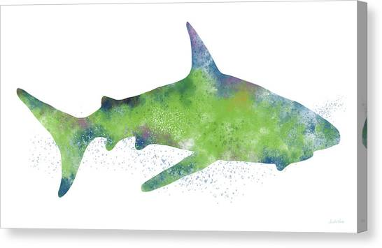 Jaws Canvas Print -  Watercolor Shark 2-art By Linda Woods by Linda Woods