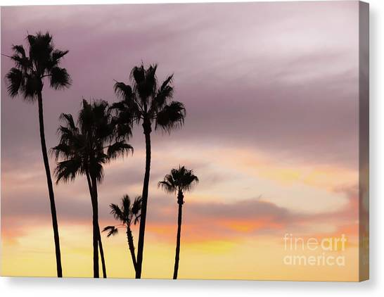 Palm Trees Sunsets Canvas Print - Watercolor Sky by Ana V Ramirez