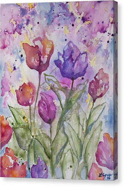 Watercolor - Spring Flowers Canvas Print