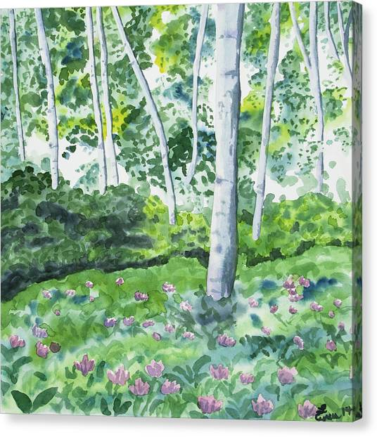 Watercolor - Spring Forest And Flowers Canvas Print