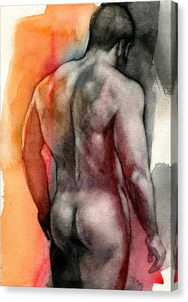 Male Nudes Canvas Print - Watercolor Study 5 by Chris Lopez