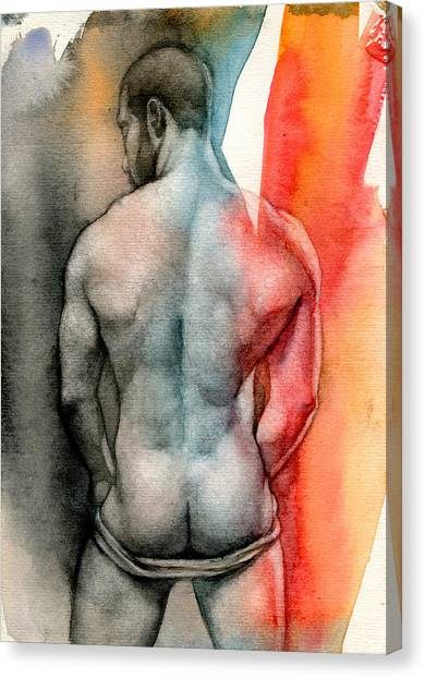 Male Nude Canvas Print - Watercolor Study 6 by Chris Lopez