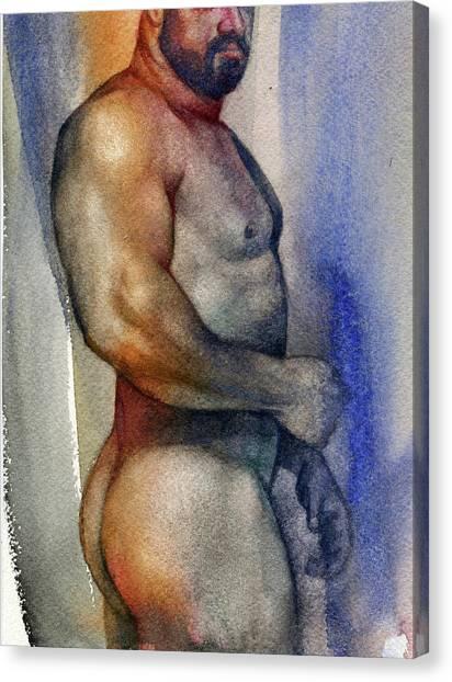 Male Nudes Canvas Print - Watercolor Study 9 by Chris Lopez