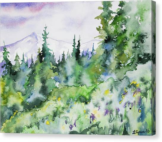 Watercolor - Summer In The Rockies Canvas Print