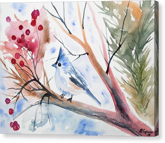 Watercolor - Tufted Titmouse With Winter Berries Canvas Print