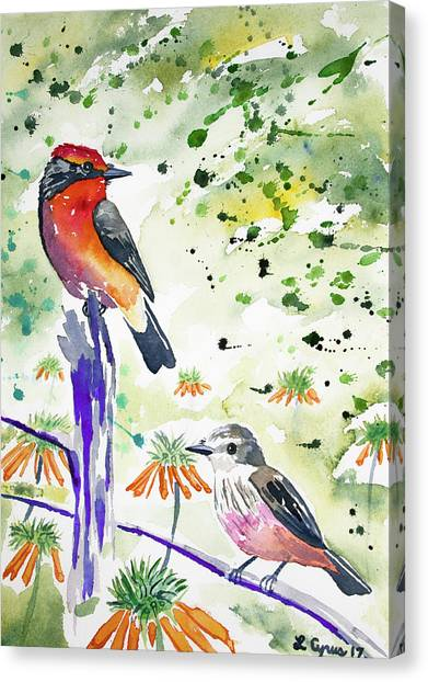 Watercolor - Vermilion Flycatcher Pair In Quito Canvas Print