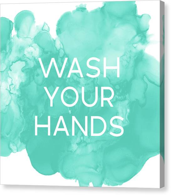Flu Canvas Print - Watercolor Wash Your Hands- Art By Linda Woods by Linda Woods