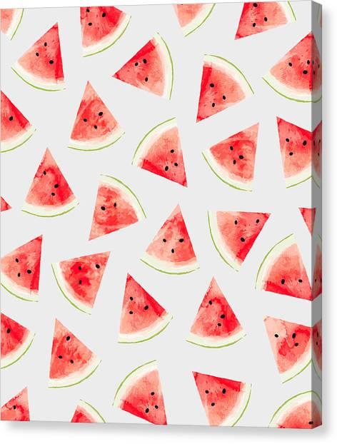Watermelons Canvas Print - Watercolor Watermelon Pattern by Uma Gokhale