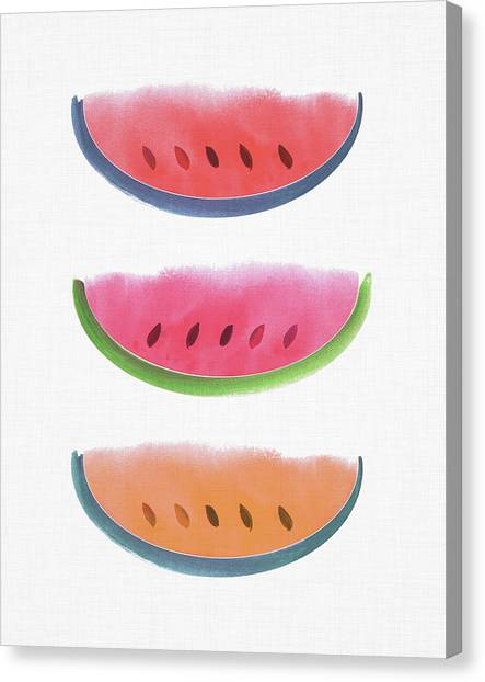Melons Canvas Print - Watercolor Watermelon Trio by Kristian Gallagher