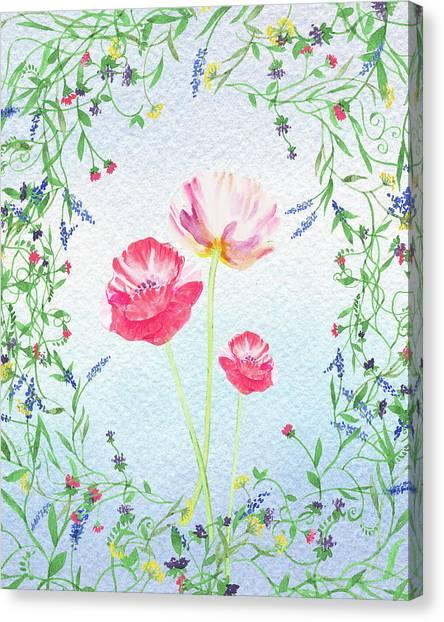Wedding Bouquet Canvas Print - Watercolor Wildflowers And Pink Poppies by Irina Sztukowski
