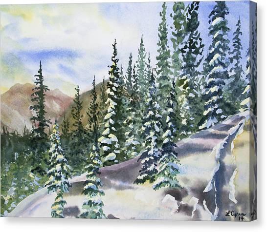 Watercolor - Winter Snow-covered Landscape Canvas Print