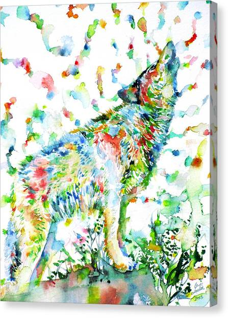 Howling Wolves Canvas Print - Watercolor Wolves.2 by Fabrizio Cassetta