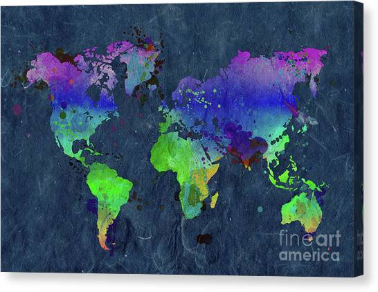 World map paint splashes canvas prints fine art america world map paint splashes canvas print watercolor world map blue by delphimages photo creations gumiabroncs Choice Image