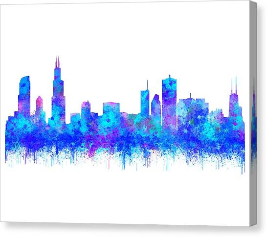 Canvas Print featuring the painting Watercolour Splashes And Dripping Effect Chicago Skyline by Georgeta Blanaru