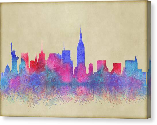 Canvas Print featuring the digital art Watercolour Splashes New York City Skylines by Georgeta Blanaru