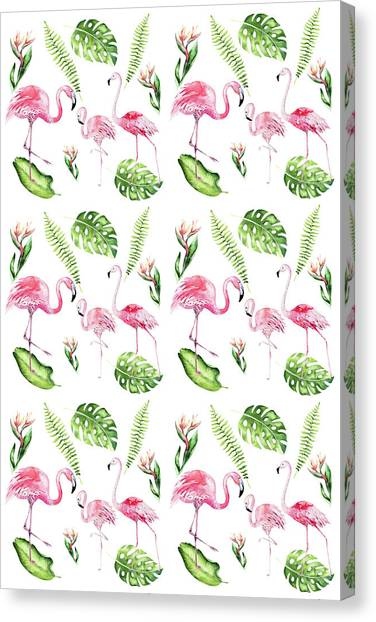 Canvas Print featuring the painting Watercolour Tropical Beauty Flamingo Family by Georgeta Blanaru