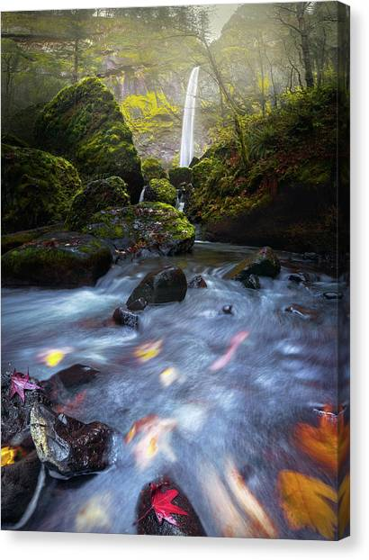 Waterfall And Stream With Fluxing Autumn Leaves Canvas Print