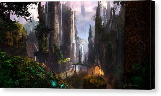 Canvas Print - Waterfall Celtic Ruins by Alex Ruiz