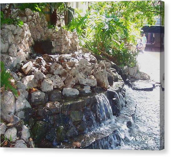 Canvas Print featuring the digital art Waterfall by Deleas Kilgore