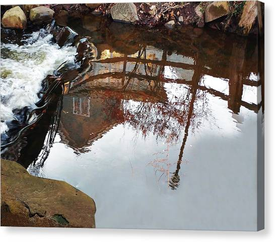Waterfall From Calm Waters Canvas Print