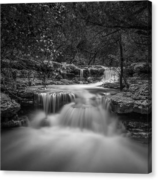 Waterfall In Austin Texas - Square Canvas Print