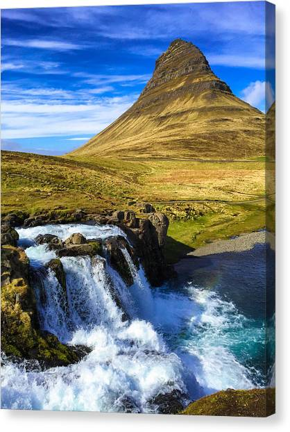 Waterfalls Canvas Print - Waterfall In Iceland Kirkjufellfoss by Matthias Hauser