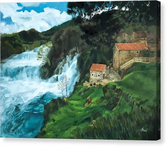 Waterfall In Krka Canvas Print