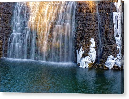 Waterfall In Winter Canvas Print