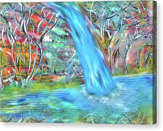 Fantasy Cave Canvas Print - Waterfall by Michelle Ressler