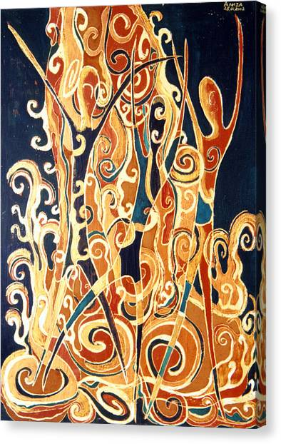 Waterfall Of A Golden Rain Canvas Print by Aliza Souleyeva-Alexander