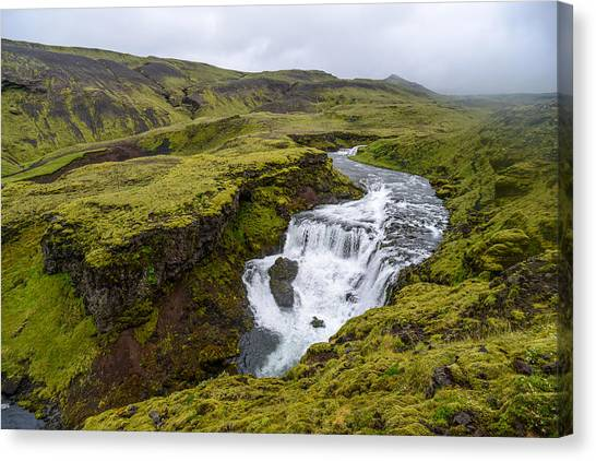 Waterfall On The Fimmvorduhals Trail Canvas Print