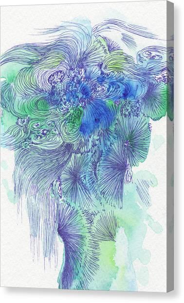 Waterfall - #ss16dw044 Canvas Print by Satomi Sugimoto