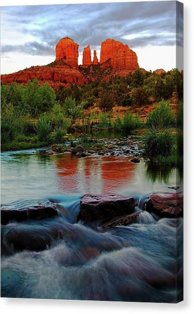Waterfall Under Cathedral Rock Canvas Print