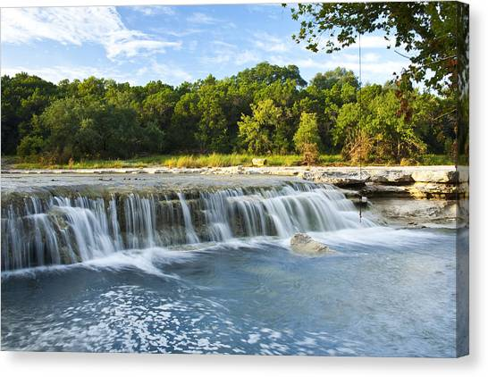 Austin Texas Canvas Print - Waterfalls At Bull Creek by Mark Weaver