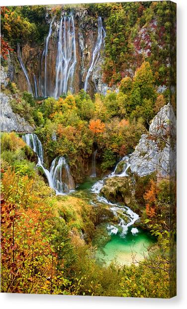 Waterfalls In Plitvice Lakes National Park Canvas Print