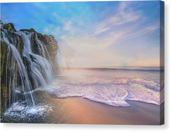 Waterfalls Into The Ocean Canvas Print