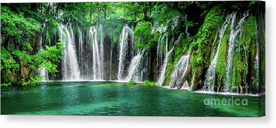 Waterfalls Panorama - Plitvice Lakes National Park Croatia Canvas Print