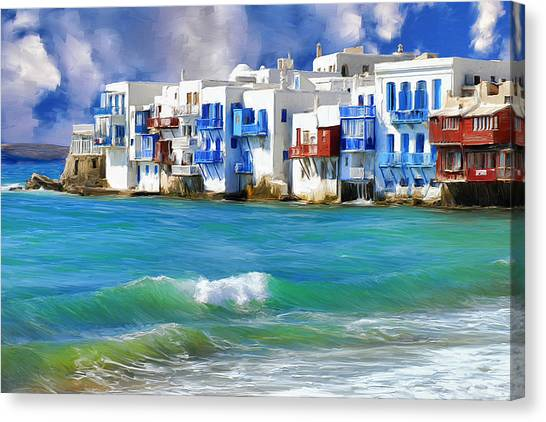 Waterfront At Mykonos Canvas Print