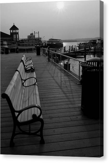 Waterfront Benches II Canvas Print