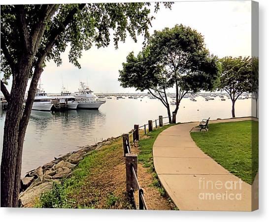 John Boats Canvas Print - Waterfront Walk by Janice Drew