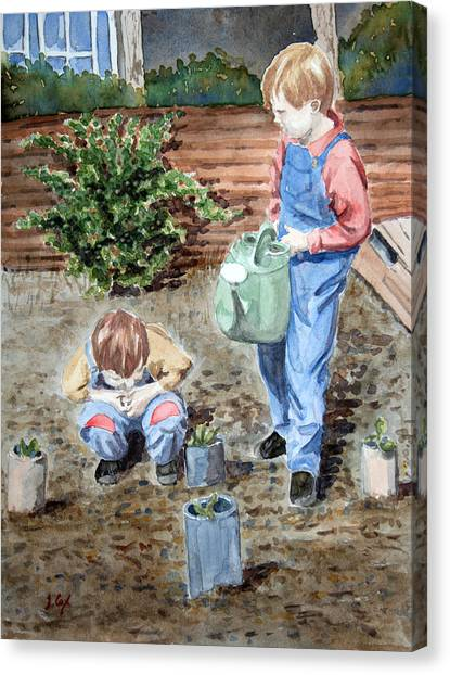 Watering The Plants Canvas Print by John Cox