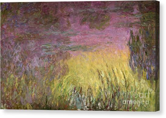 Abstract Lily Canvas Print - Waterlilies At Sunset by Claude Monet