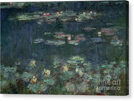 Lilies Canvas Print - Waterlilies Green Reflections by Claude Monet