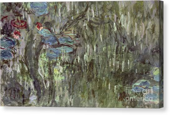 Murky Canvas Print - Waterlilies With Reflections Of Willows by Claude Monet