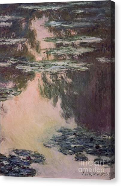 Weeping Willows Canvas Print - Waterlilies With Weeping Willows by Claude Monet