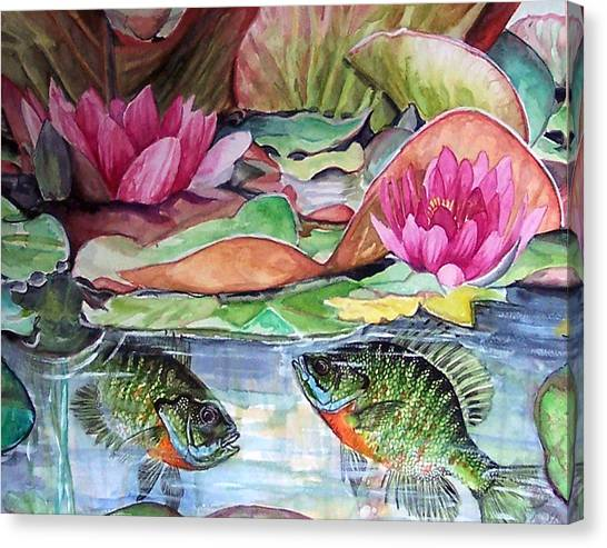 Waterlillies And Blue Giles Canvas Print by Bette Gray