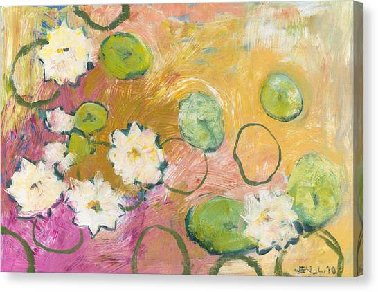 Impressionist Canvas Print - Waterlillies At Dusk by Jennifer Lommers