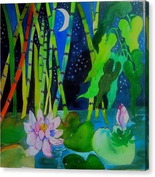 Waterlillies At Midnight Canvas Print